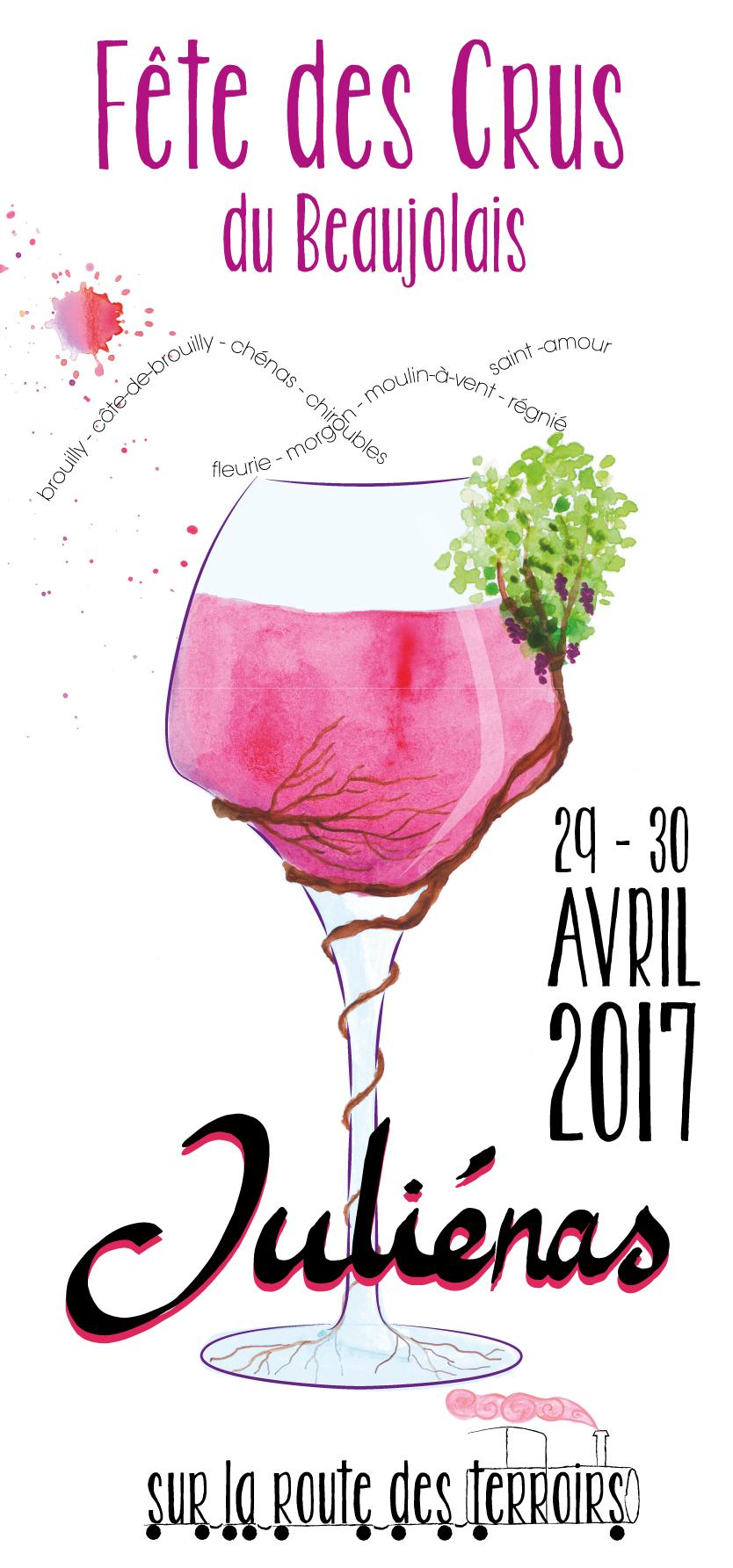 création de l'affiche et de l'identité visuelle de la fête des crus du beaujolais